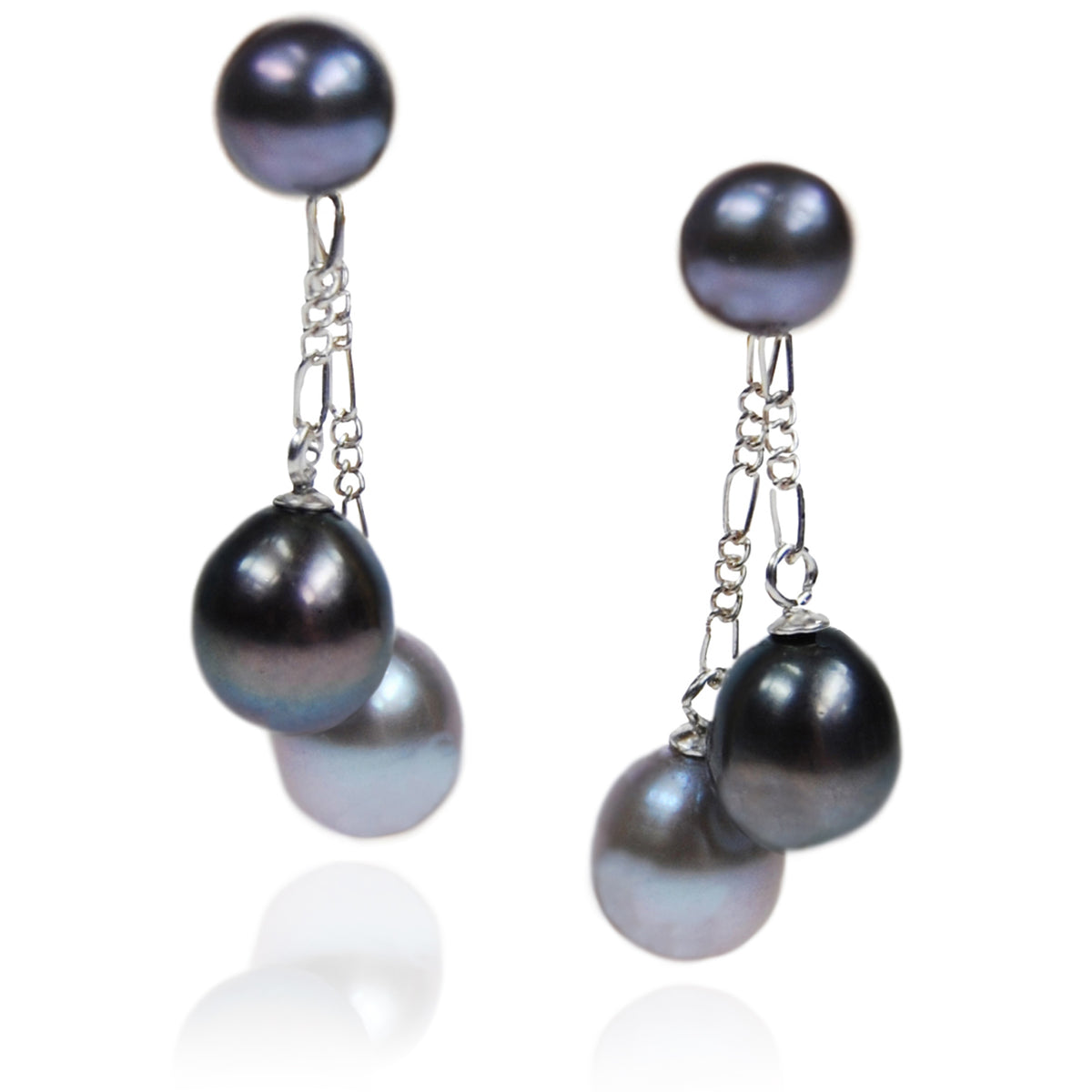Grey & Black Freshwater Pearl Double Drop Earrings