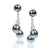 Grey Freshwater Pearl Double Drop Earrings