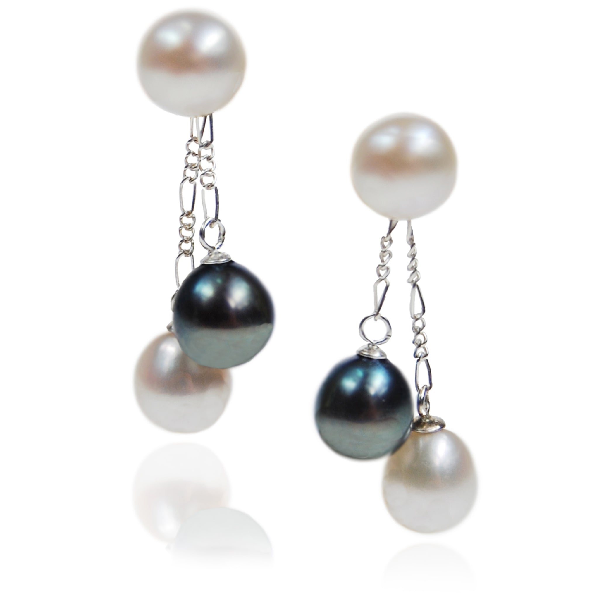 White & Black Freshwater Pearl Double Drop Earrings