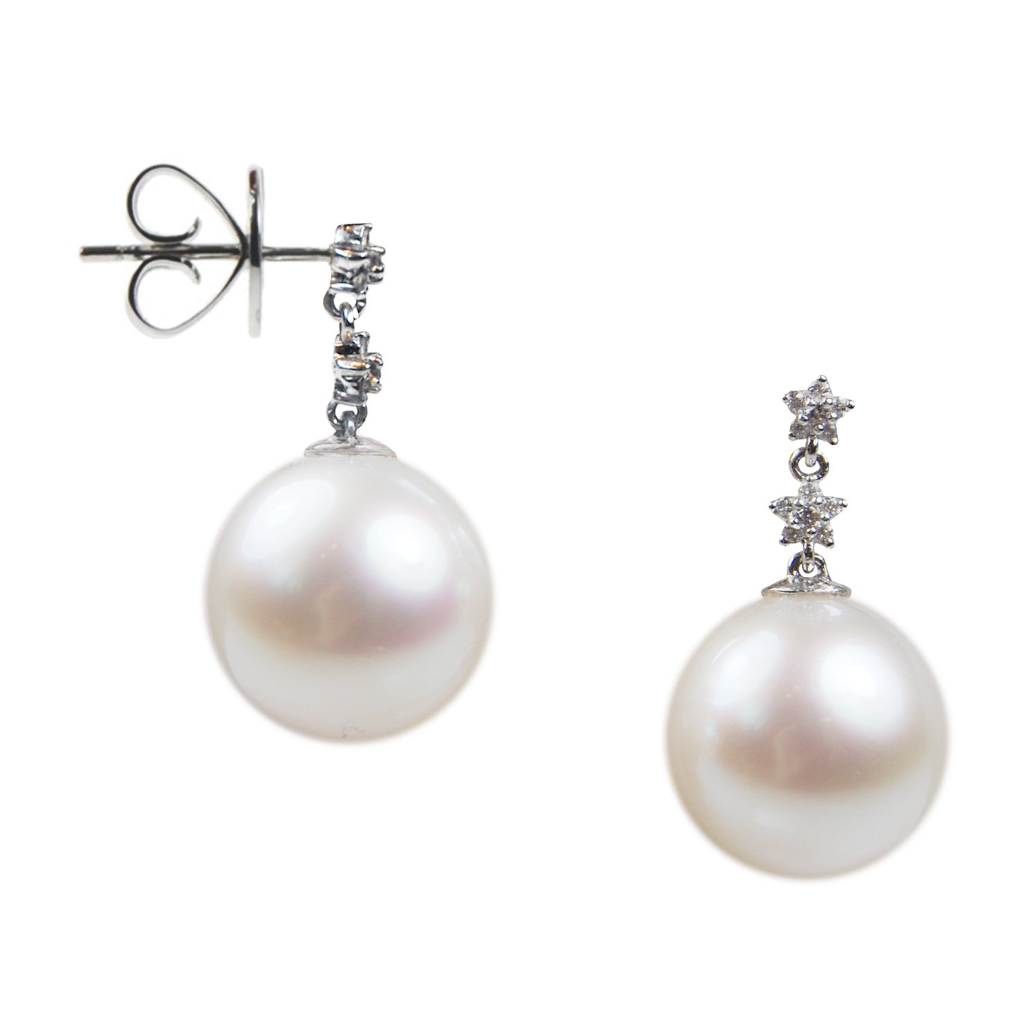 Diamond Star Earrings with South Sea Pearl Drops