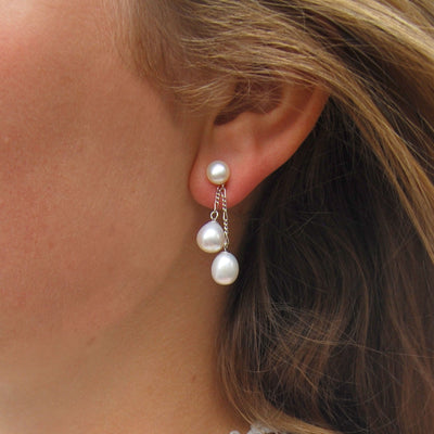 White Freshwater Pearl Double Drop Earrings