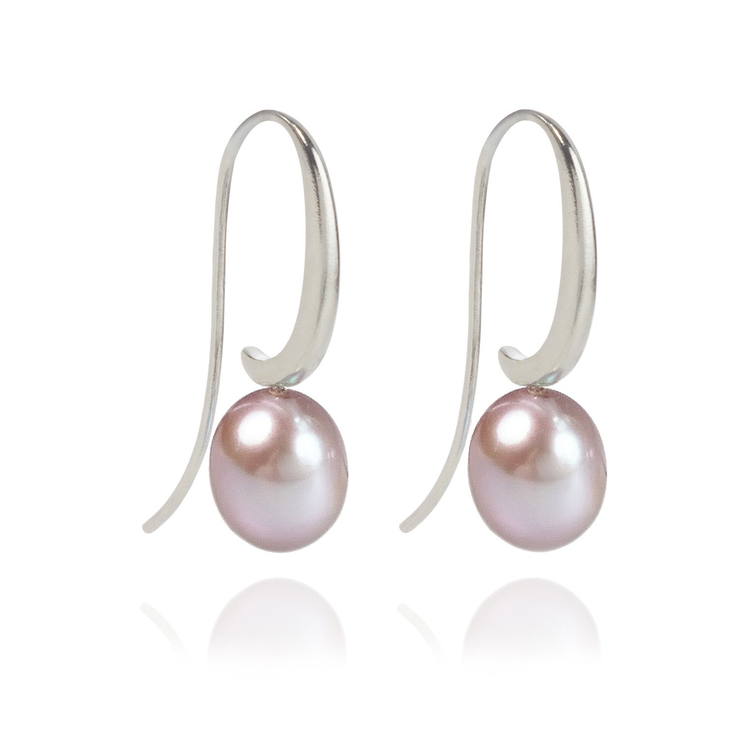 Joyful Shepherd Crook Plum Pink Pearl Drop Earrings