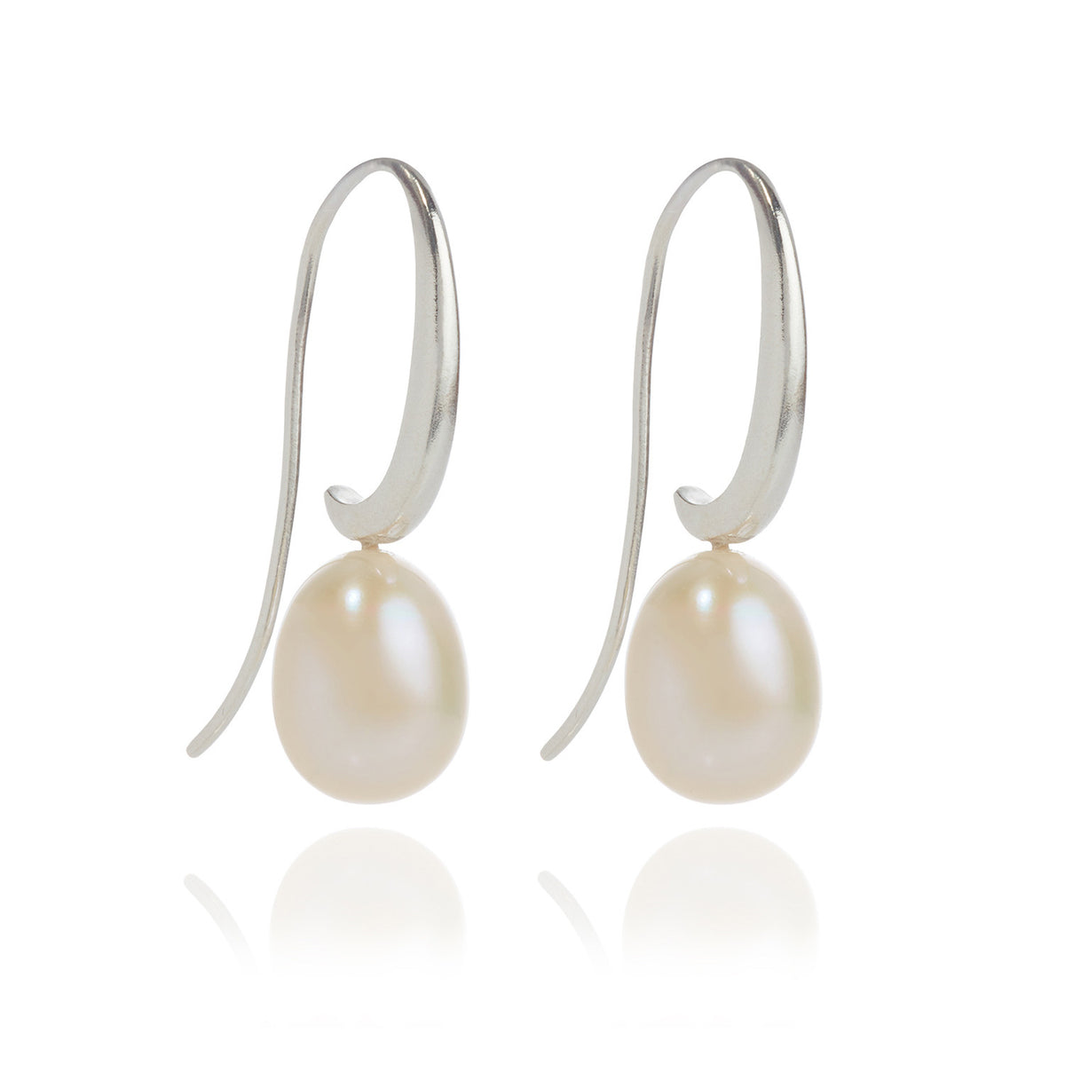 Joyful Shepherd Crook White Pearl Drop Earrings