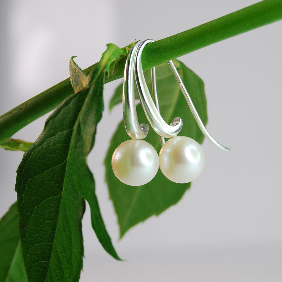 Joyful Shepherd Crook White Round Pearl Drop Earrings