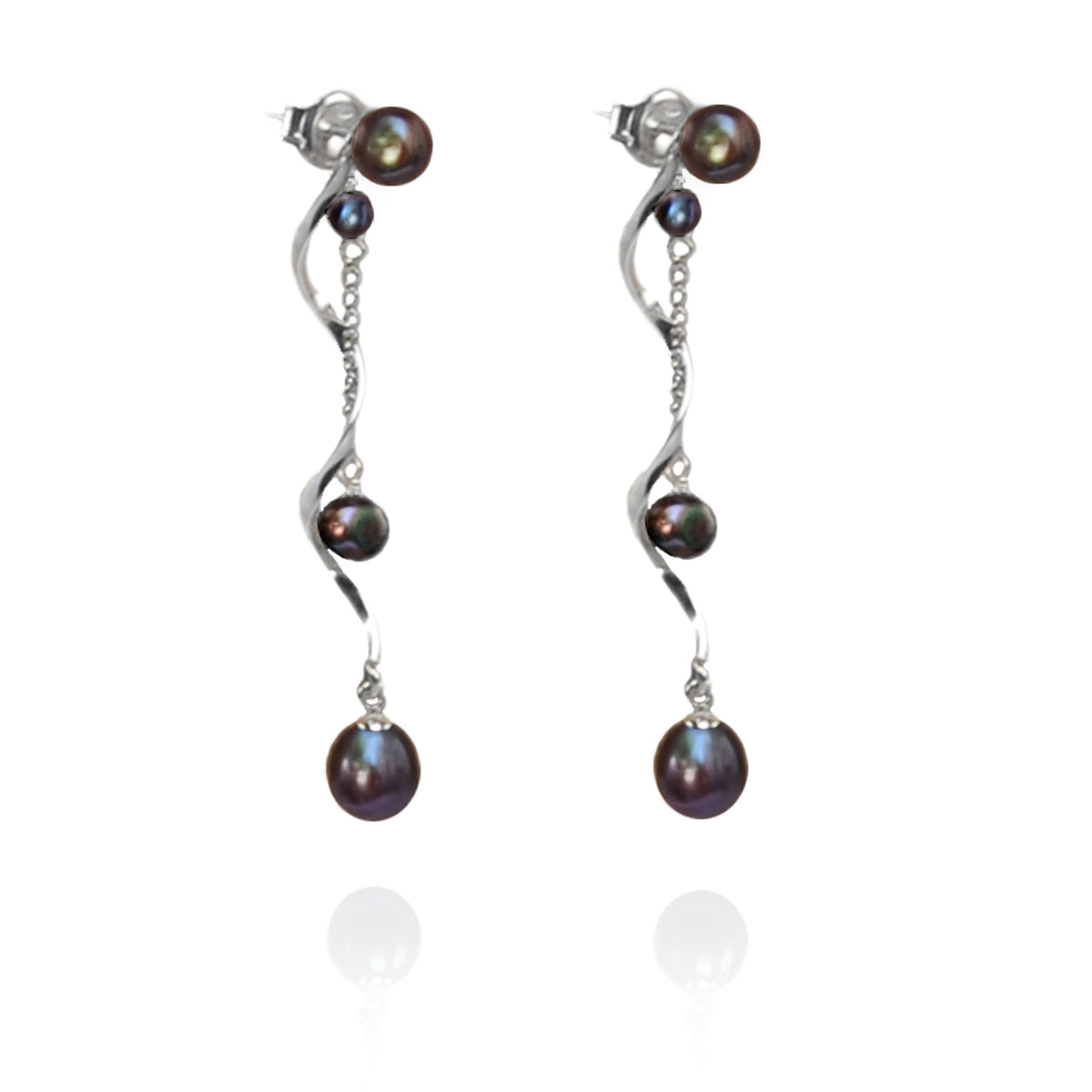 Black Freshwater Pearl & Twisted Silver 'Build Your Own' Drop Earrings