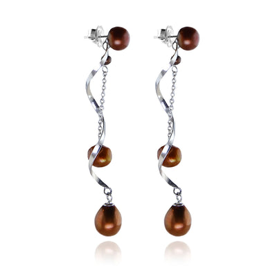 Copper Freshwater Pearl & Twisted Silver 'Build Your Own' Drop Earrings