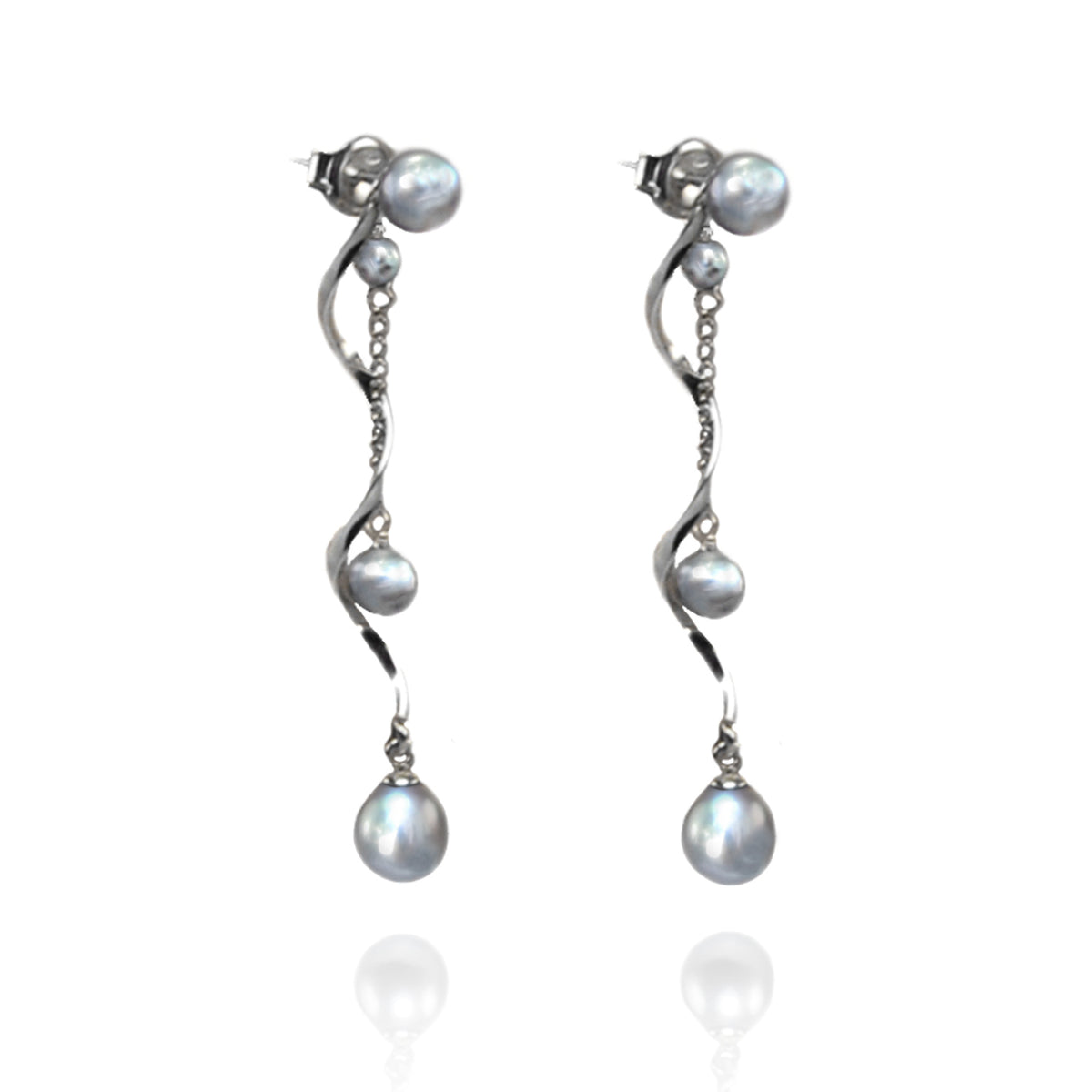 Grey Freshwater Pearl & Twisted Silver 'Build Your Own' Drop Earrings