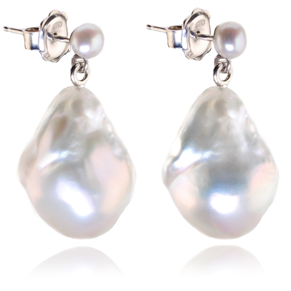 White Baroque Freshwater Pearl Drop Earrings