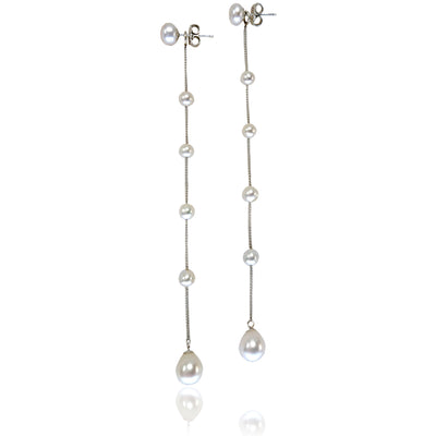 White Freshwater Pearl 'Build Your Own' Long Drop Earrings