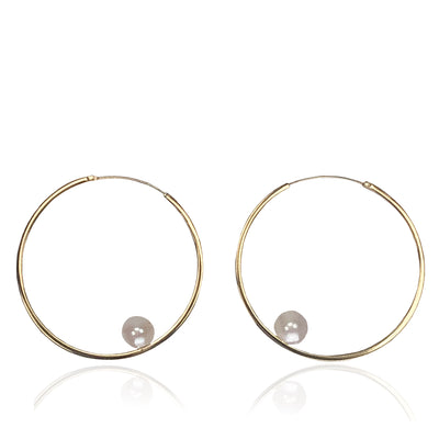 White Freshwater Pearl & Gold-Plated Hoop Earrings
