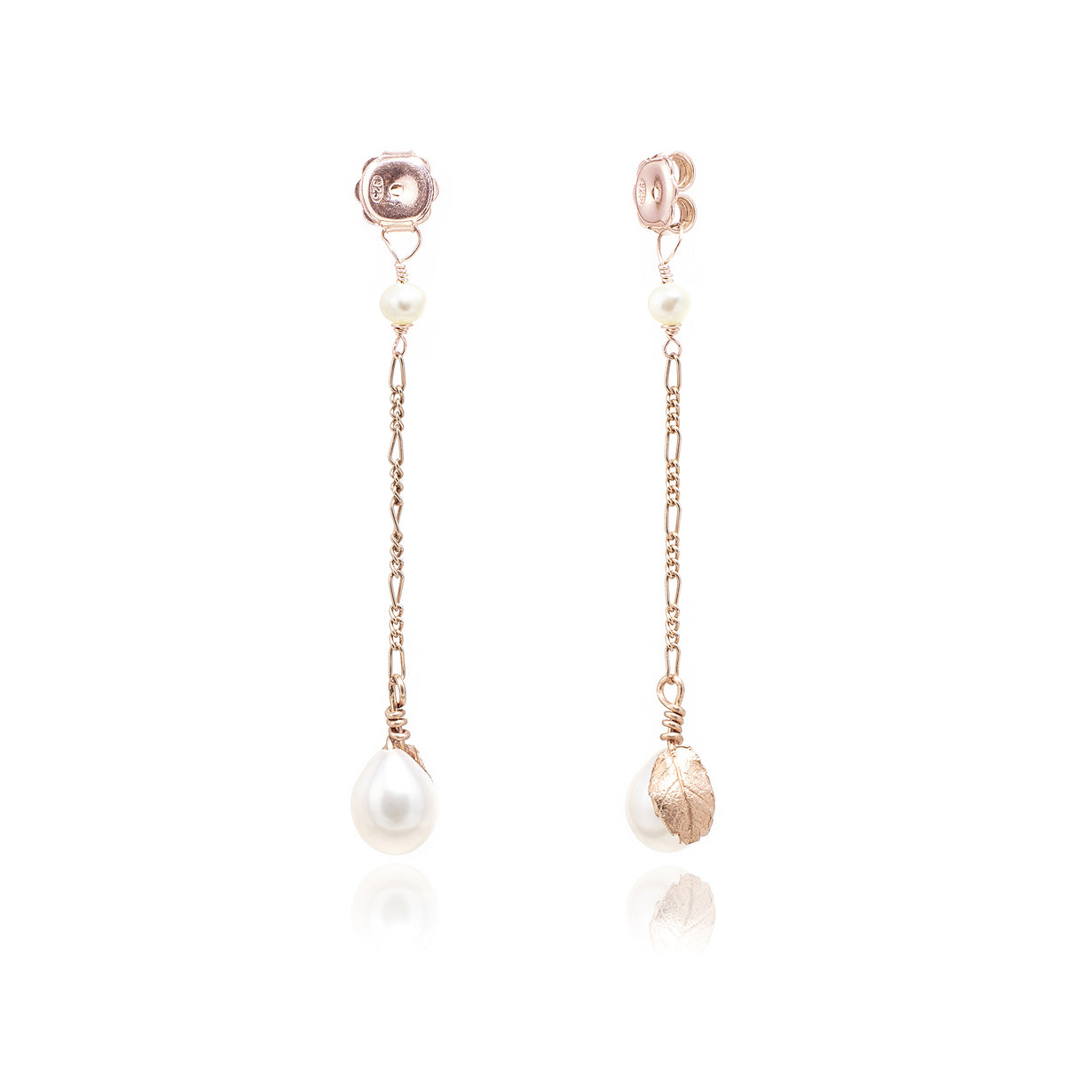 White Freshwater Pearl 'Back To Basics' Long-Drop Rose Gold Plated Earrings
