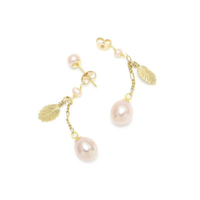Pink Freshwater Pearl 'Back To Basics' Short-Drop Yellow Gold Plated Earrings