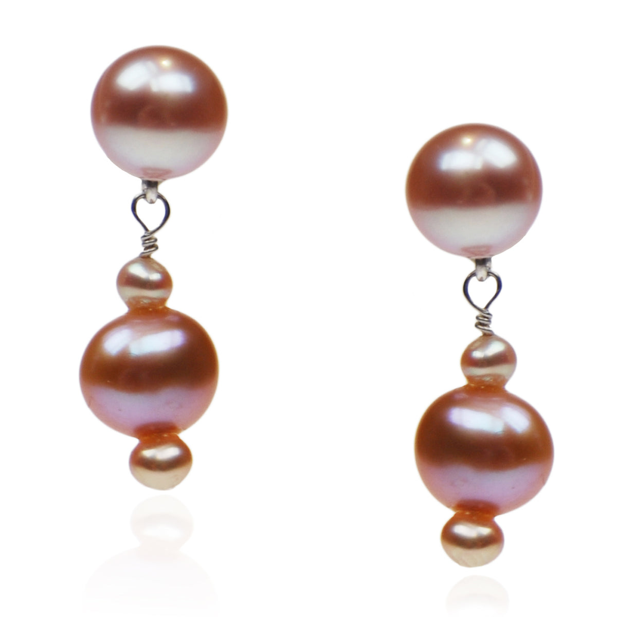 Pink Freshwater & Seed Pearl Drop Earrings