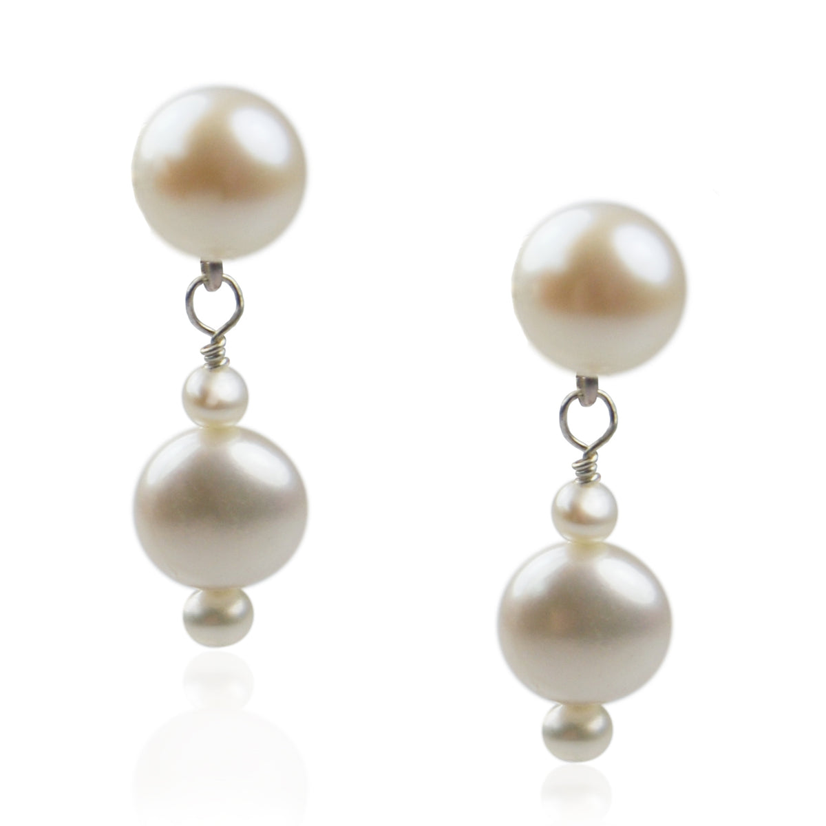 White Freshwater & Seed Pearl Drop Earrings