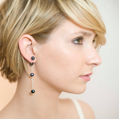 Black Seed Freshwater Pearl 'Build Your Own' Drop Earrings