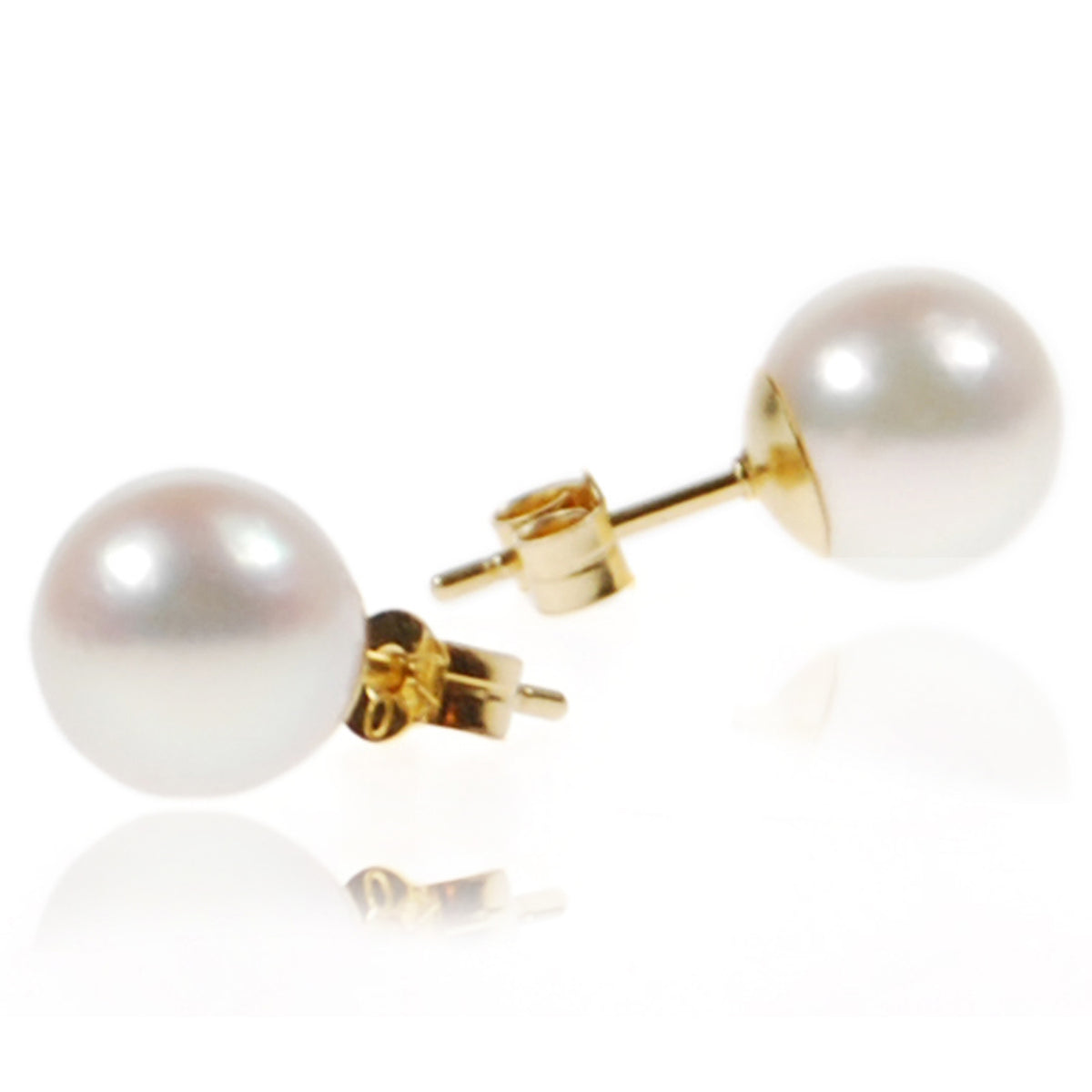 White Akoya Pearl & Yellow Gold Large Studs