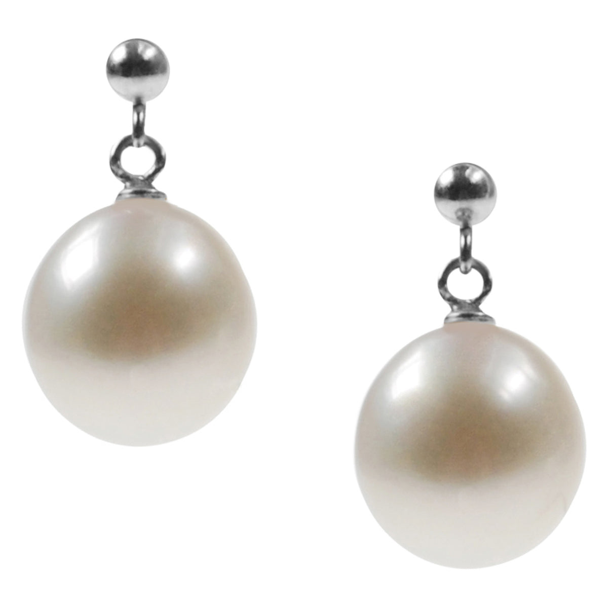 Sterling Silver Ball Stud with a Freshwater Pearl Drop