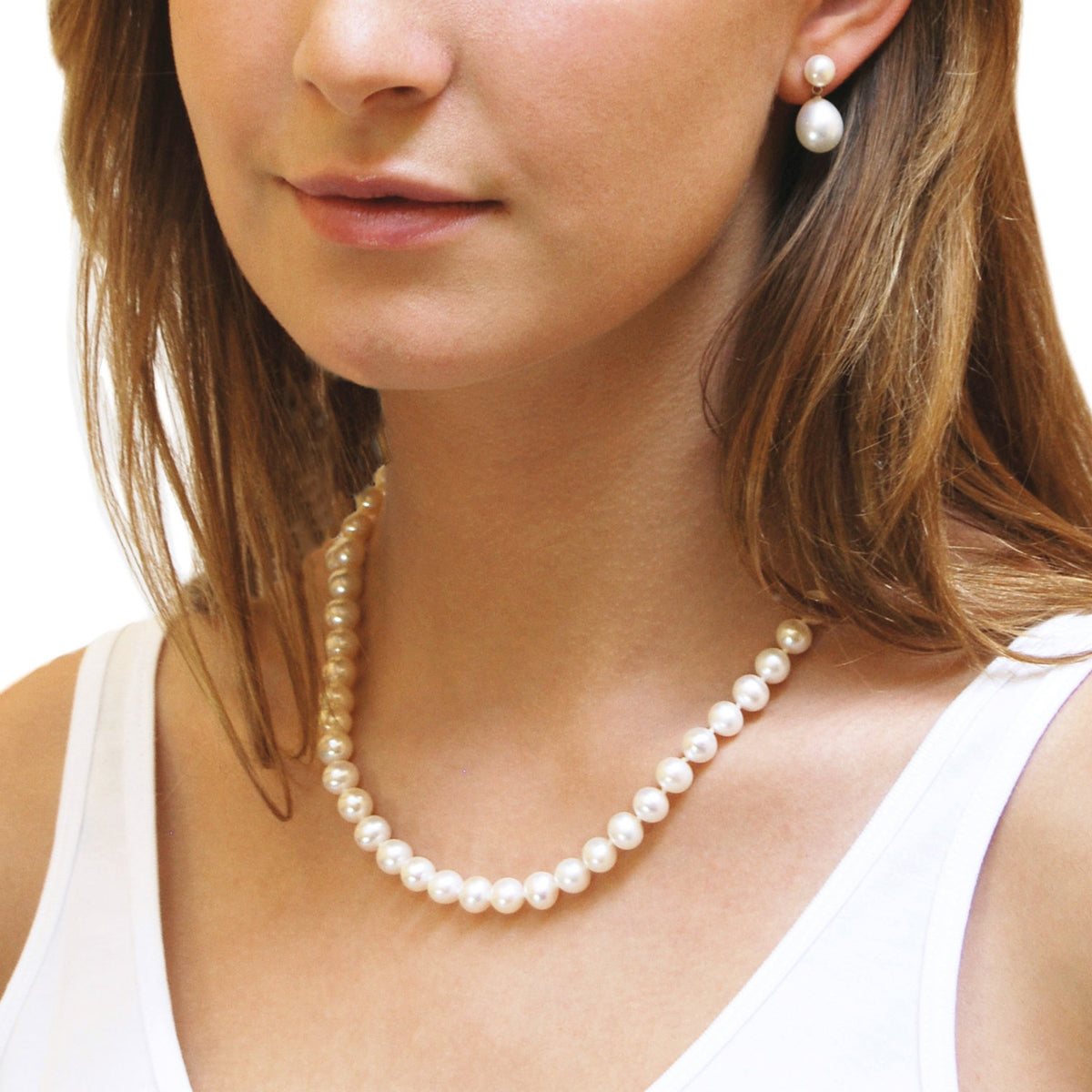 Single Strand Freshwater Pearl Large Necklace