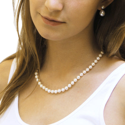 White Freshwater Pearl Medium Single Strand Necklace