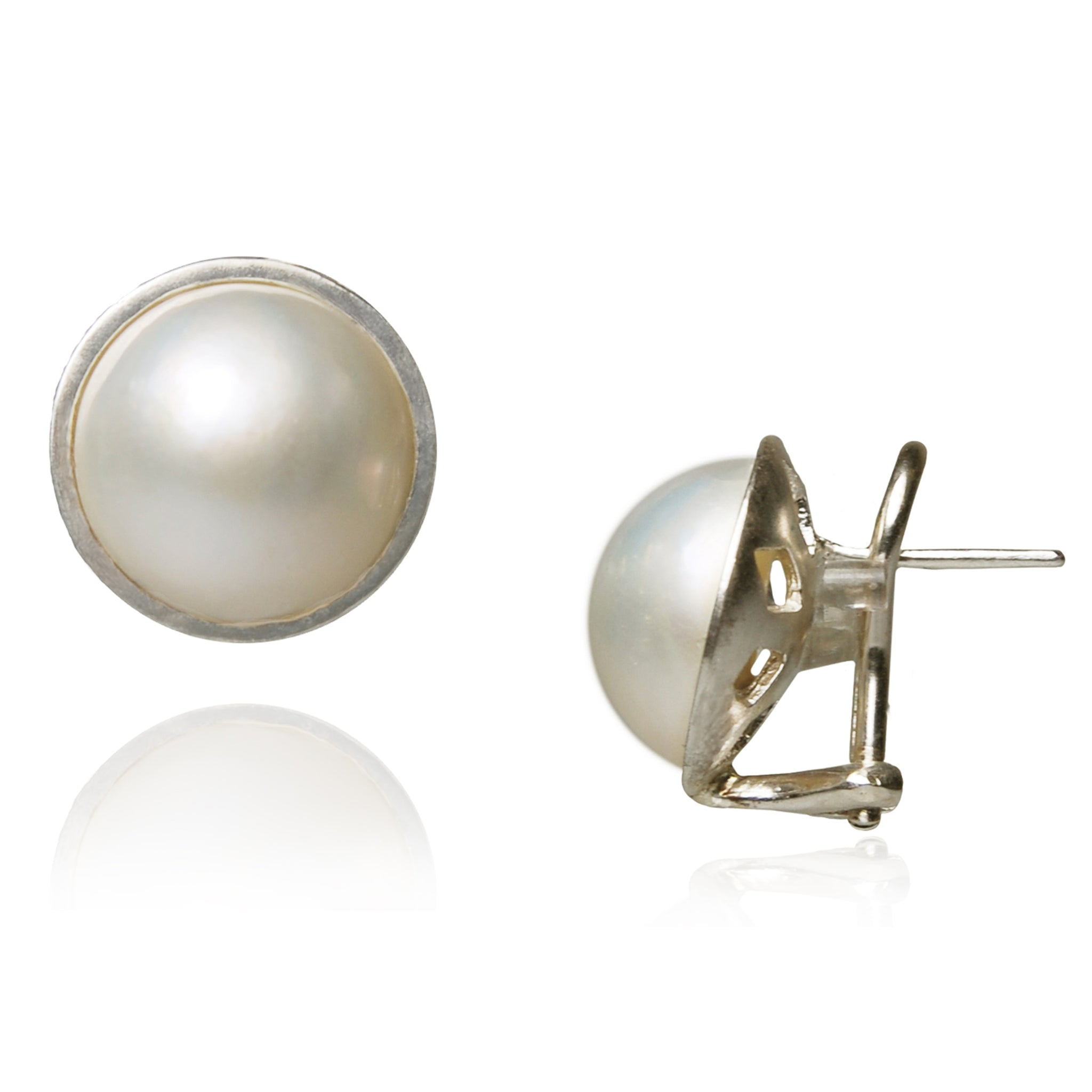 White Mabe Pearl & Silver Stud Earrings