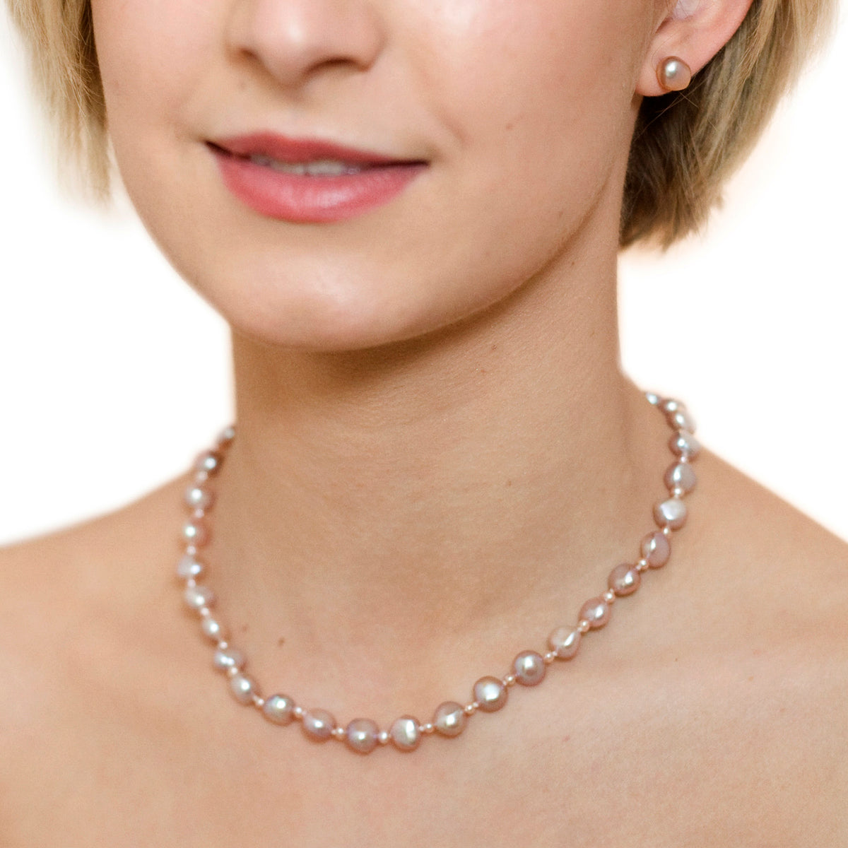 Pink Seed & Freshwater Pearl Necklace