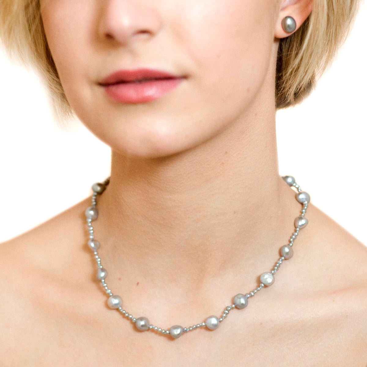 Grey Freshwater Pearl (Mixed-Size) Single Strand Necklace