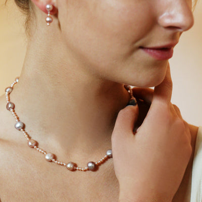Pink Freshwater Pearl (Mixed-Size) Single Strand Necklace
