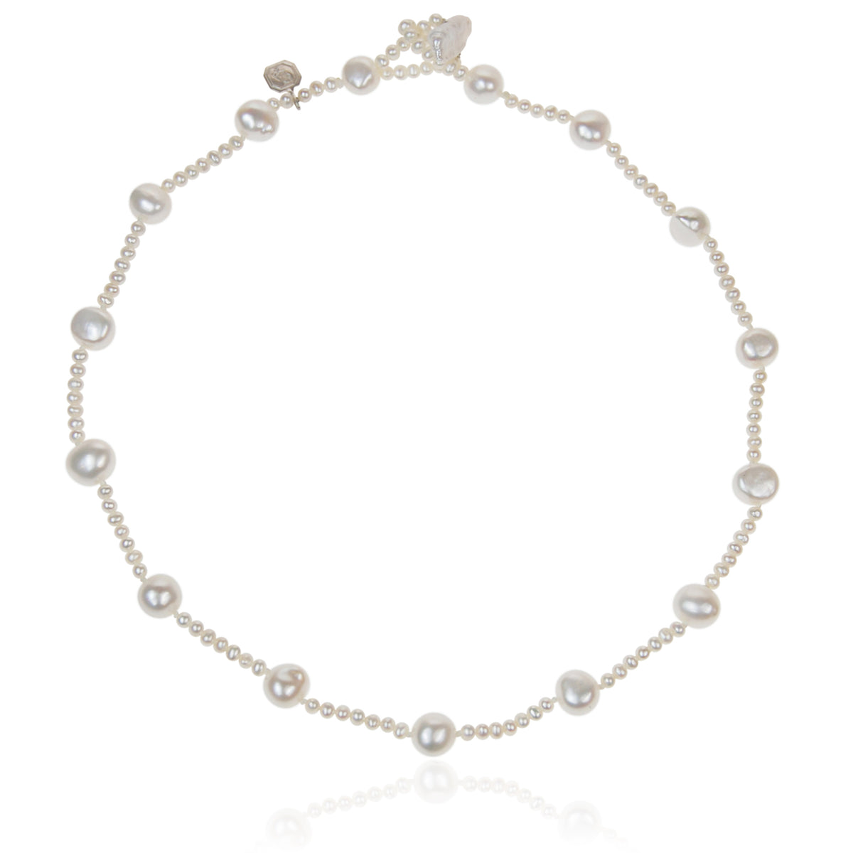 White Freshwater Pearl (Mixed-Size) Single Strand Necklace