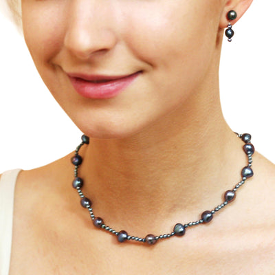 Black Freshwater Pearl (Mixed-Size) Single Strand Necklace