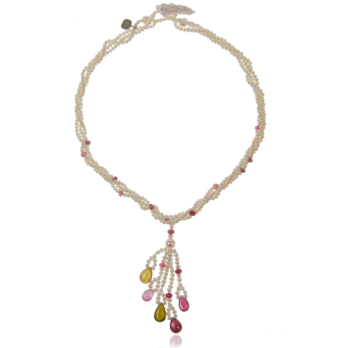 White Freshwater Pearl & Tourmaline 'Happy' Tassel Necklace