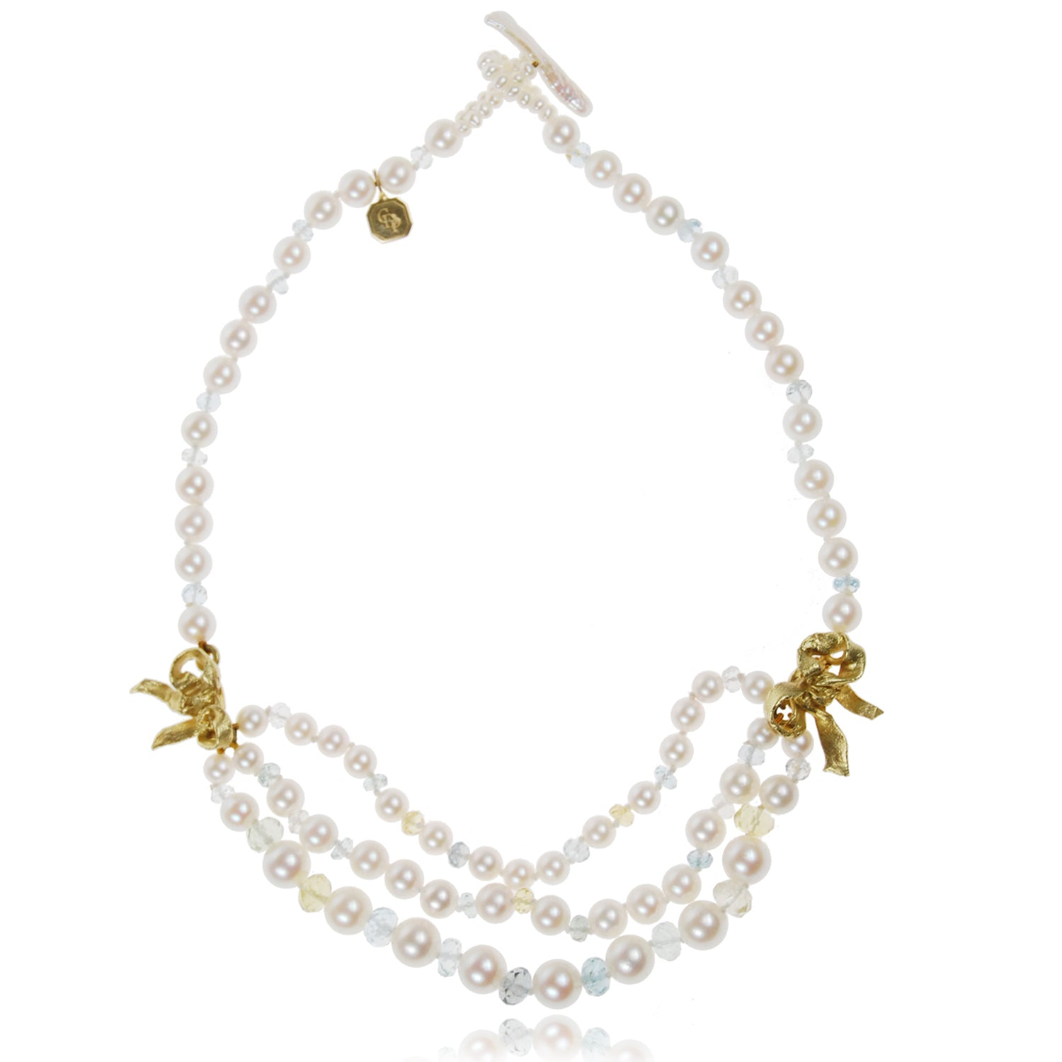 Multistrand Akoya Pearl Necklace with Gold Bows
