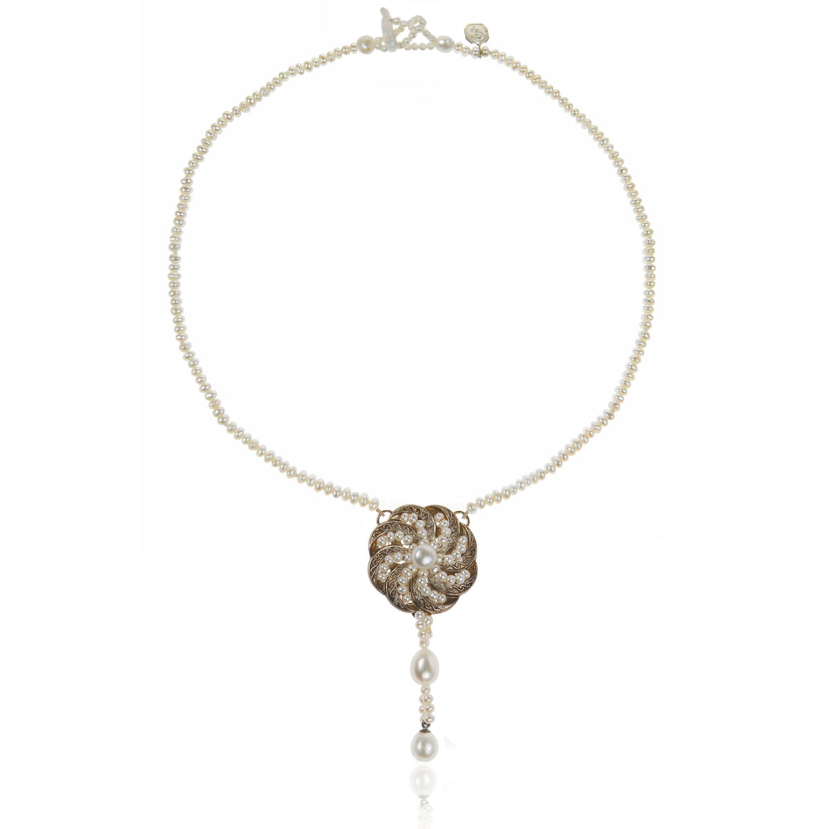 White Seed Pearl & Silver 'Swirl' Necklace