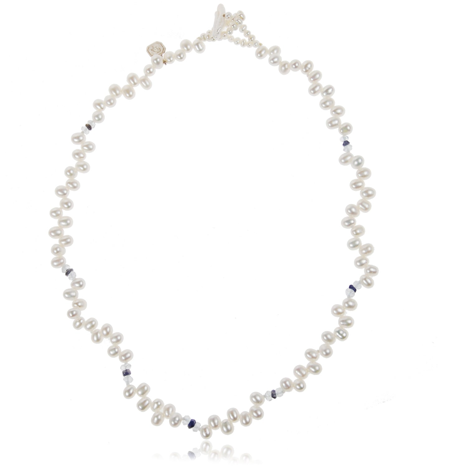 Freshwater Pearl Droplet Necklace with Semi Precious Stones in White