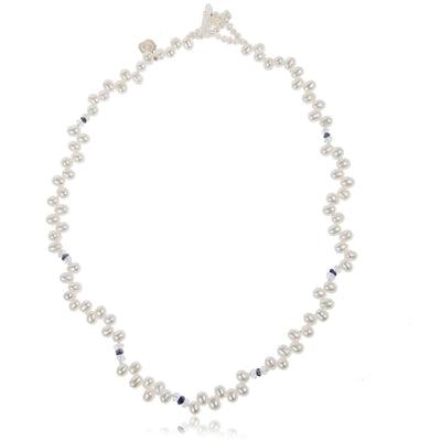 White Freshwater Pearl, Aquamarine & Iolite Droplet Necklace