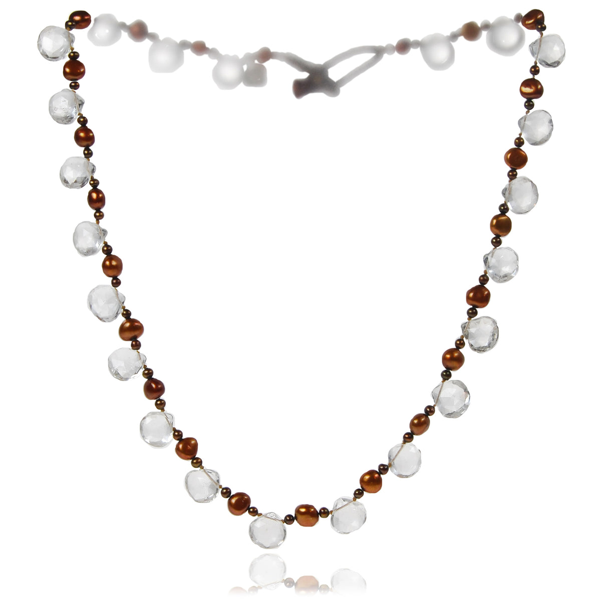Copper Freshwater Pearl & Rock Crystal Necklace