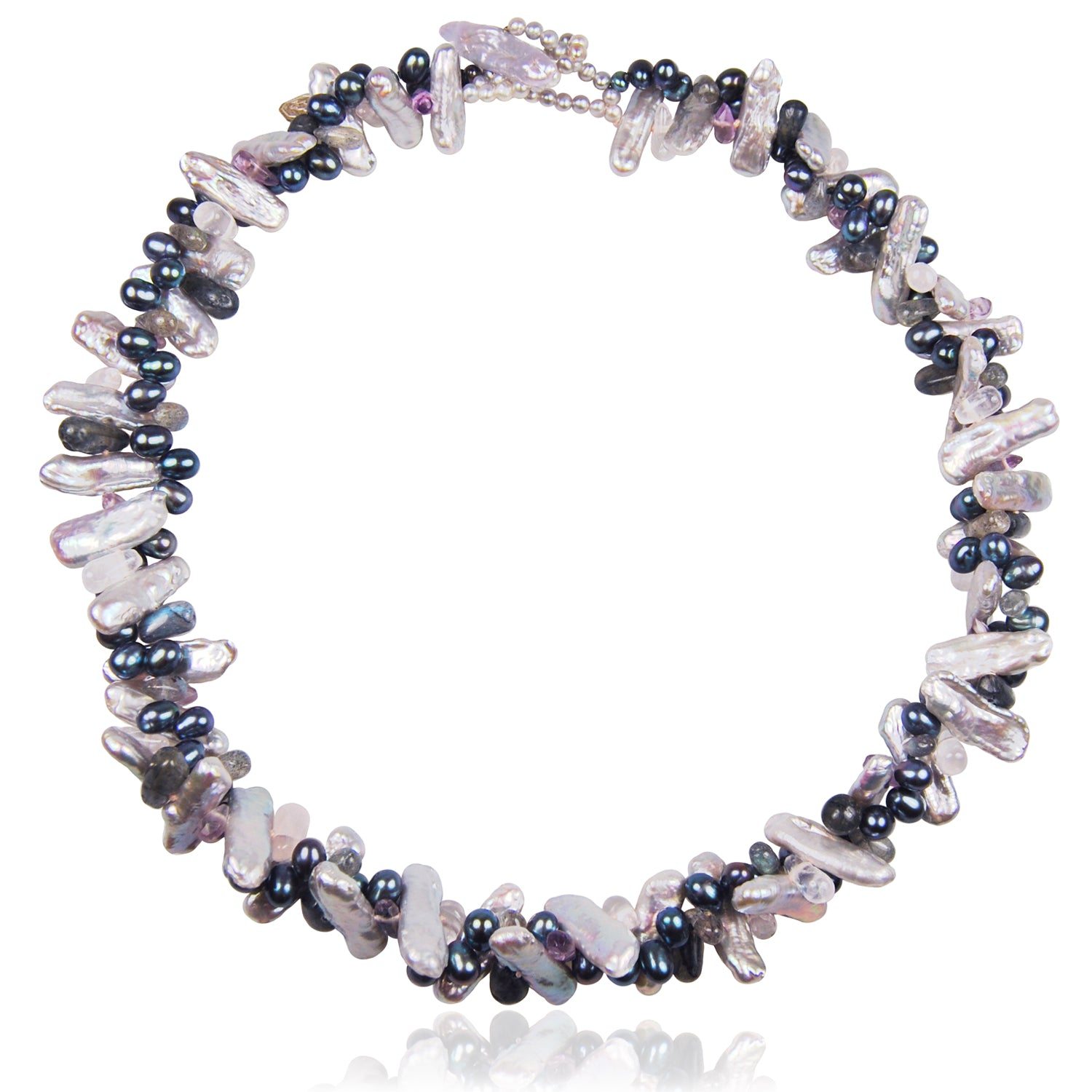 Asia' Mixed Pearl and Semi Precious Stone Necklace in Grey