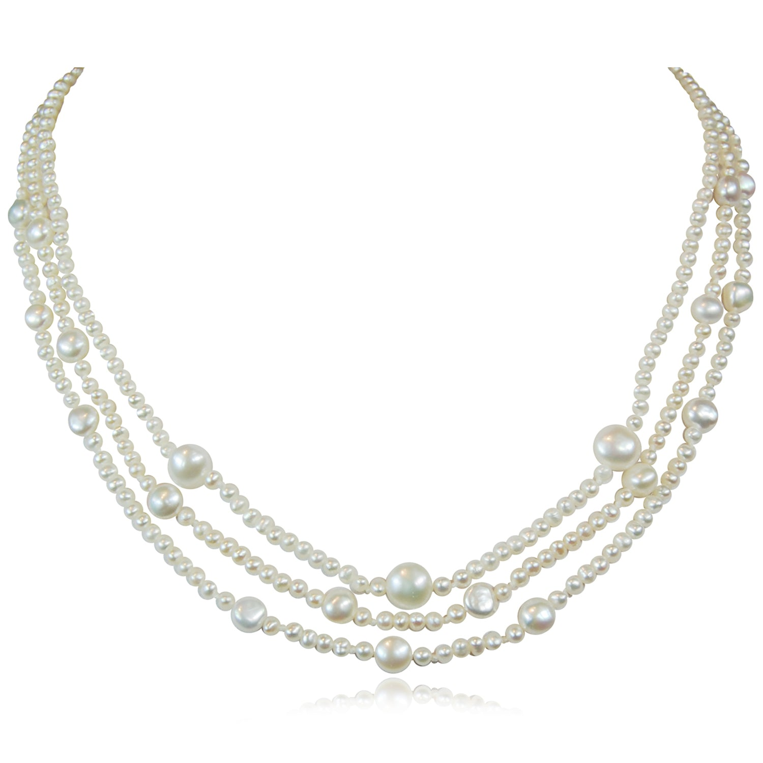 Triple Strand Pearl Spacer Necklace - Limited Edition