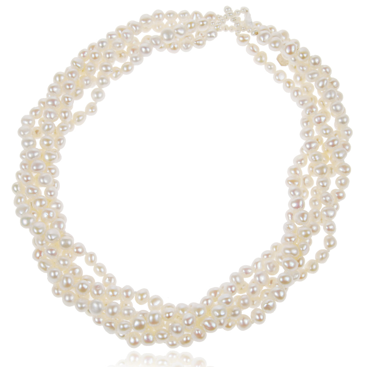 White Freshwater Pearl 5 Strand Necklace