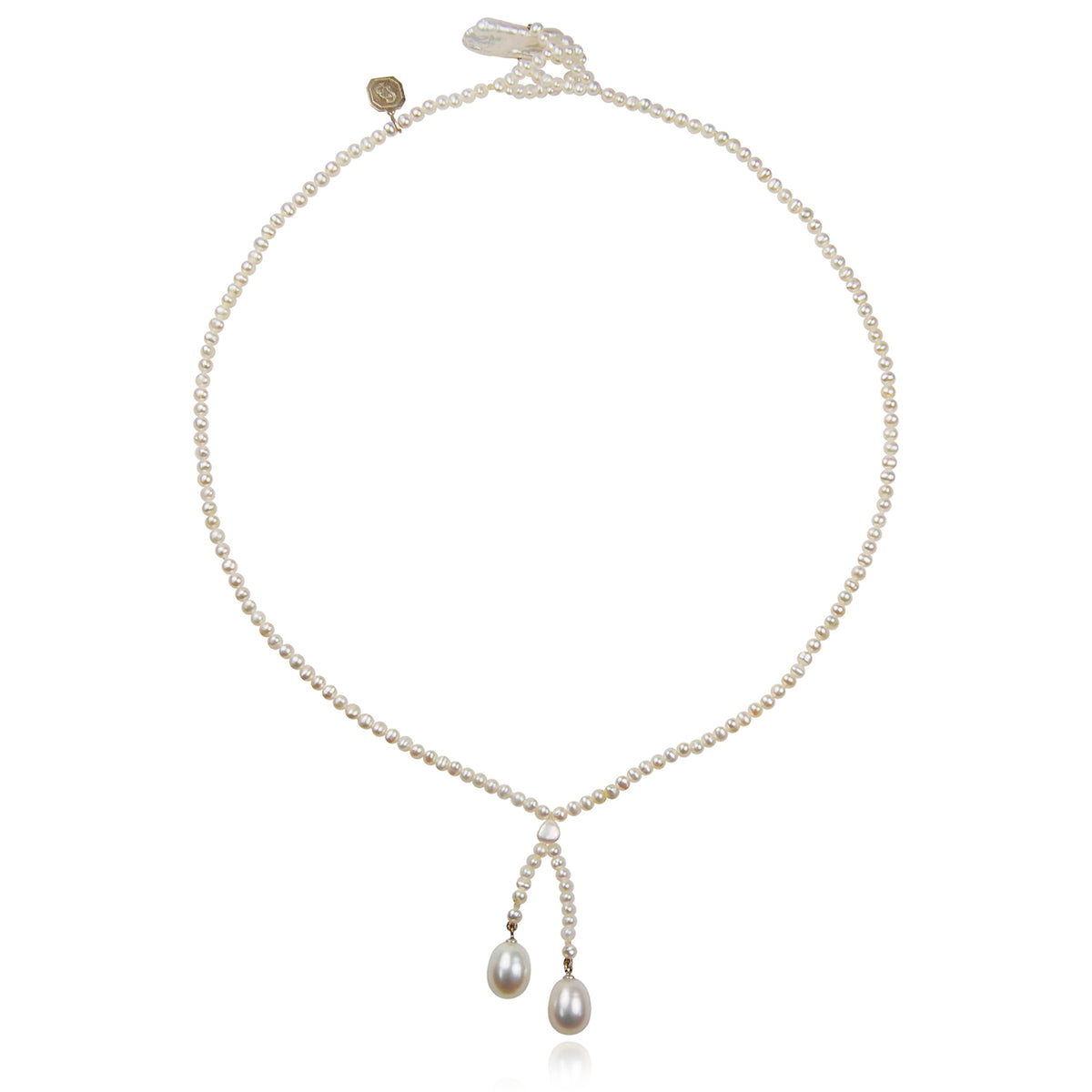 White Seed & Freshwater Pearl 'Simple' Tassel Necklace
