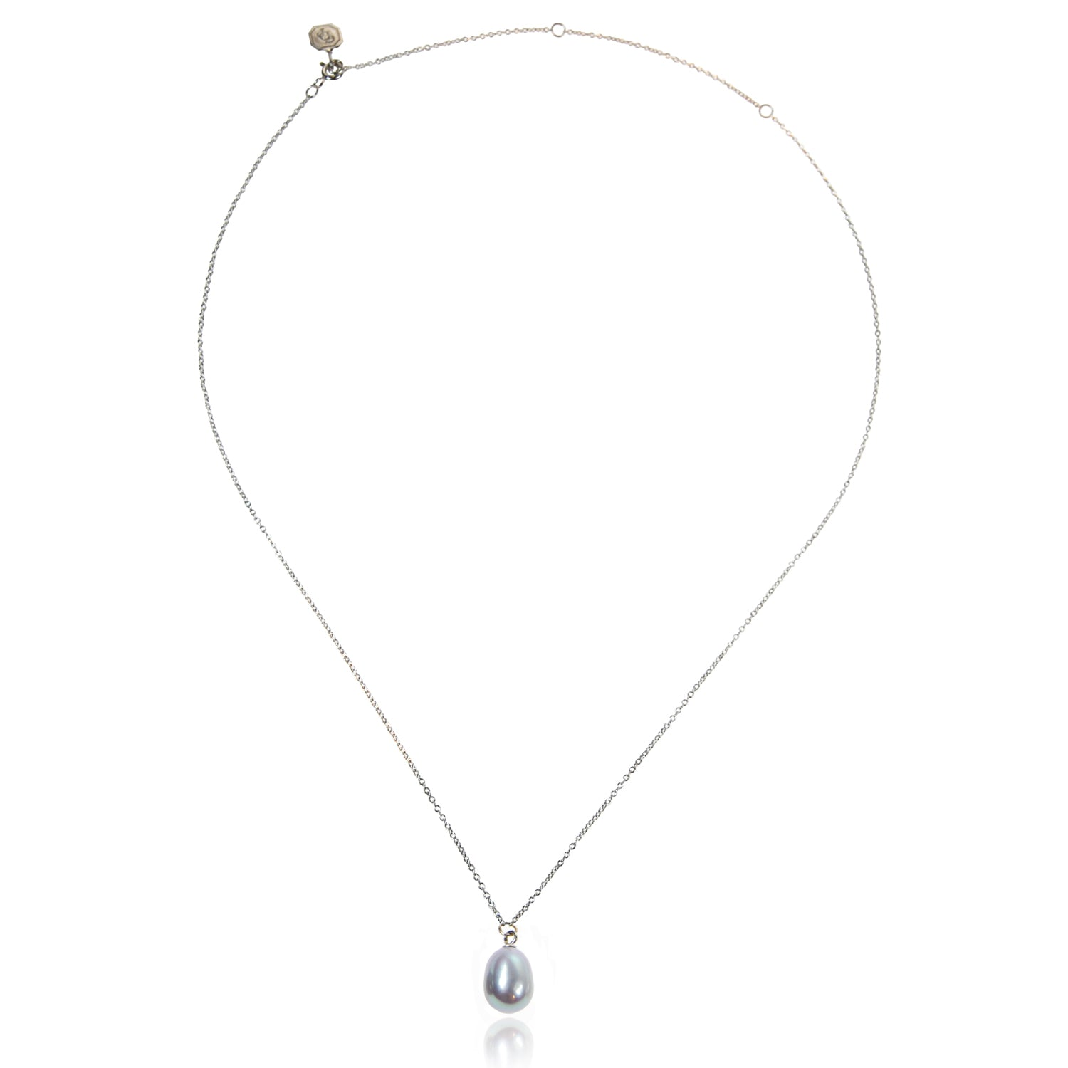 Freshwater Pearl Drop Necklace in Grey