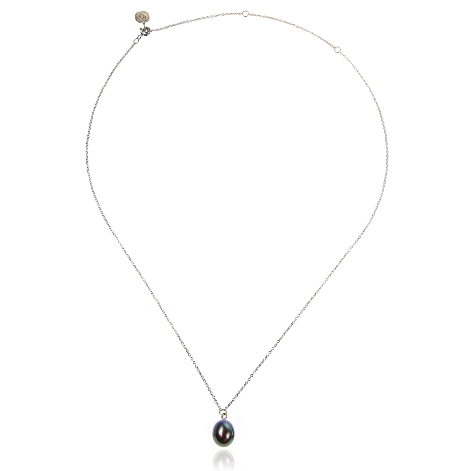 Freshwater Pearl Drop Necklace in Black