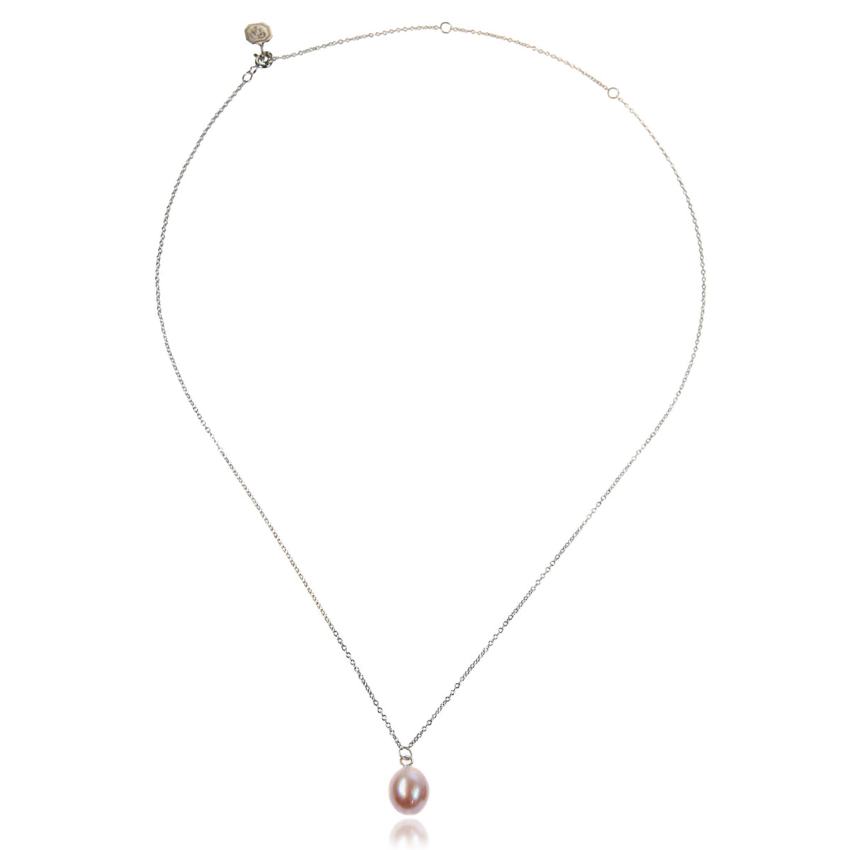 Pink Freshwater Pearl 'Simple' Silver Pendant