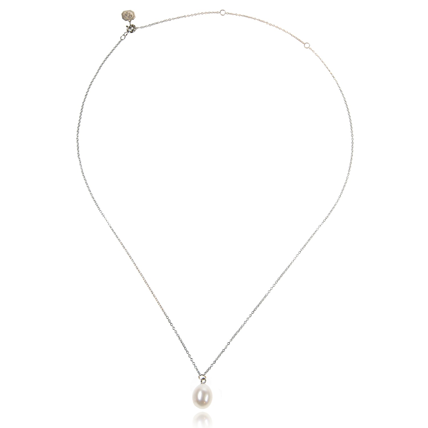 Freshwater Pearl Drop Necklace in White