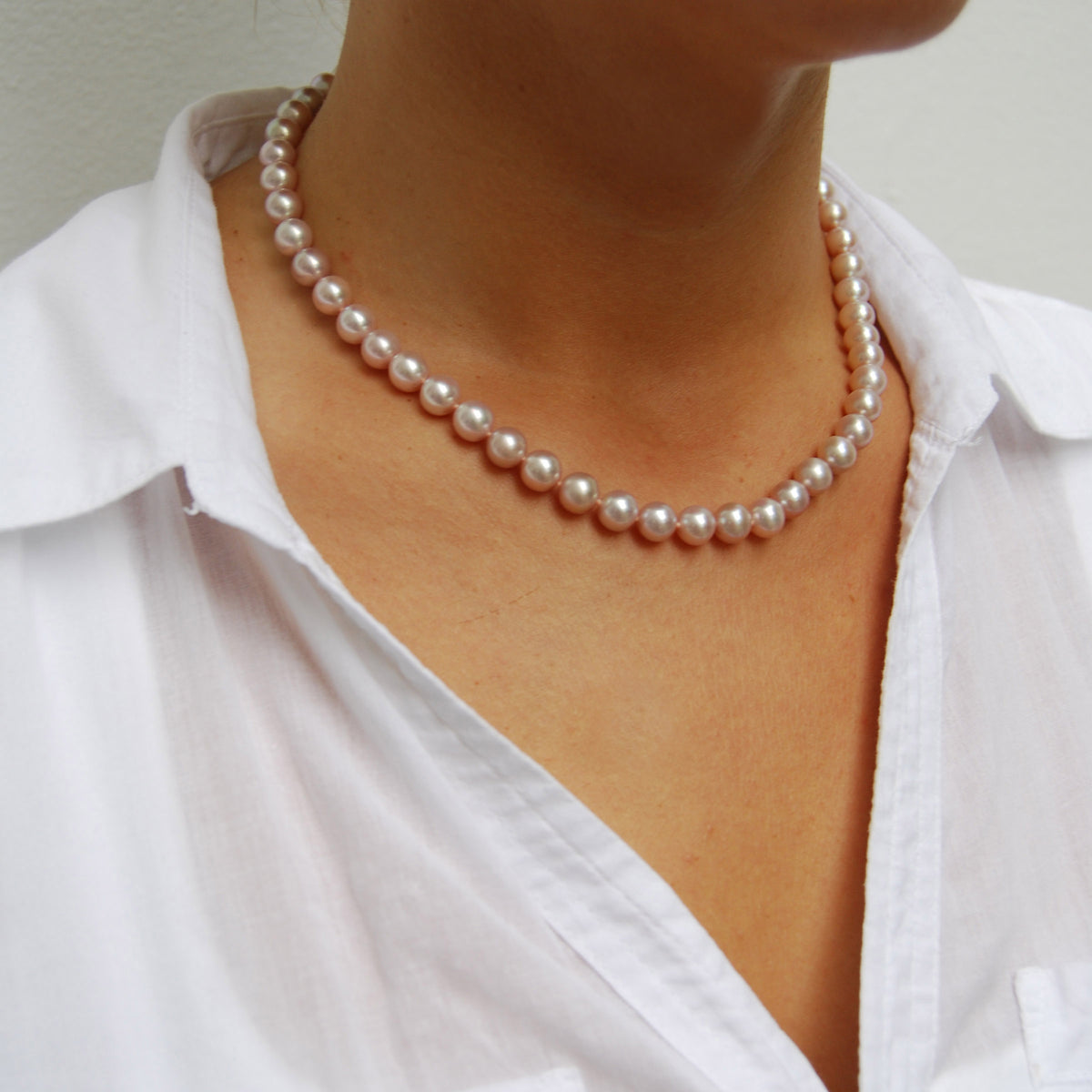 Pink Freshwater Pearl Large Single Strand Necklace
