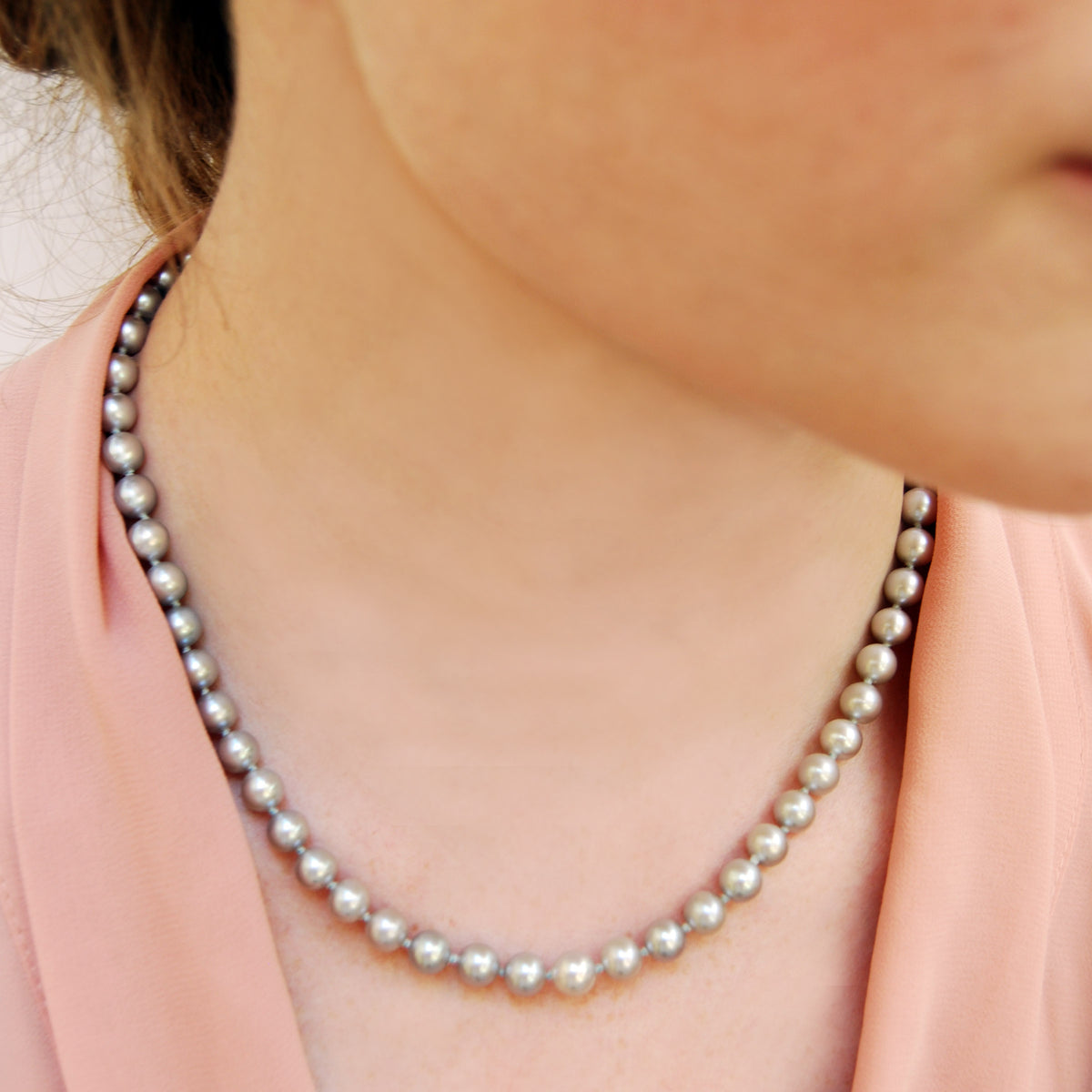 Grey Freshwater Pearl Large Single Strand Necklace