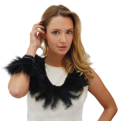Black Freshwater Pearl & Ostrich Feather Collar