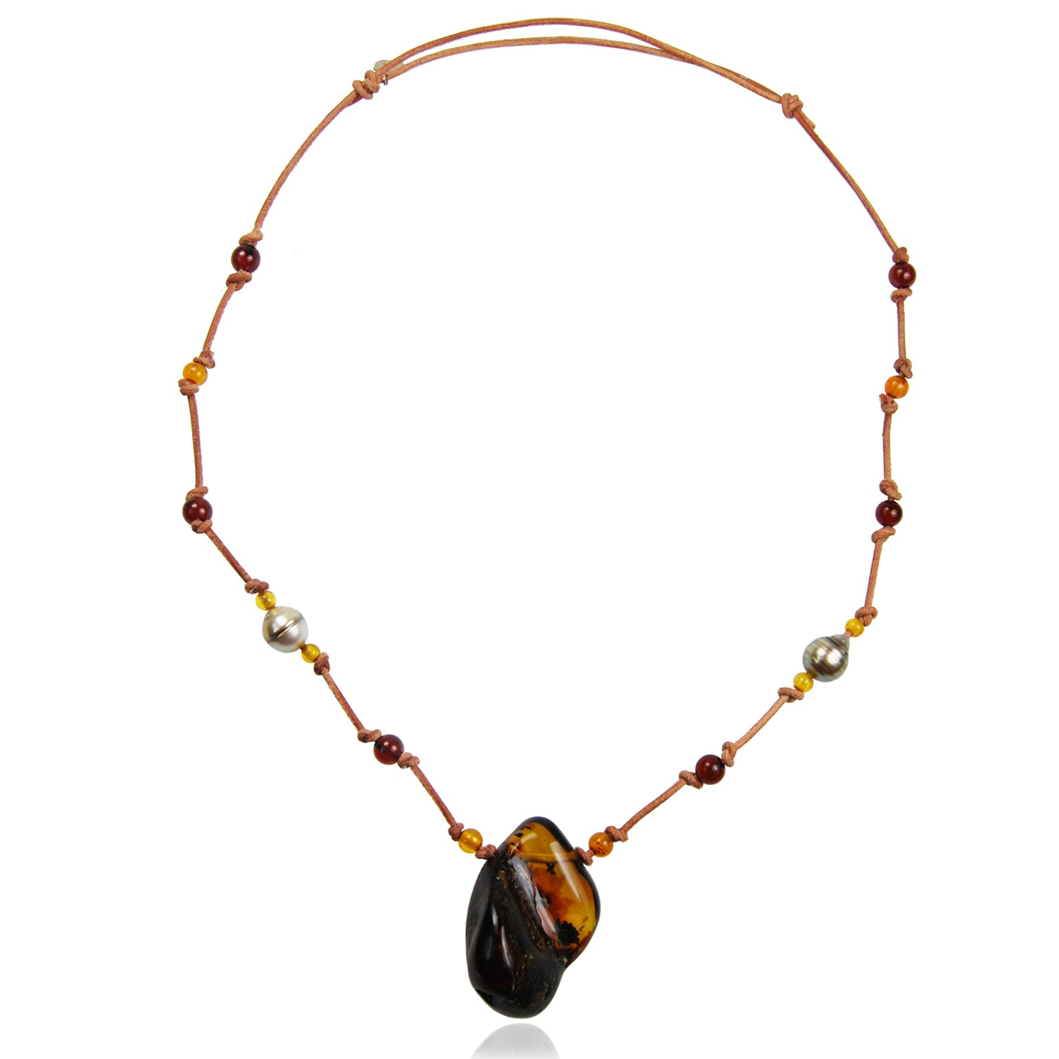 Black Tahitian Pearl & Amber 'Warrior' Necklace
