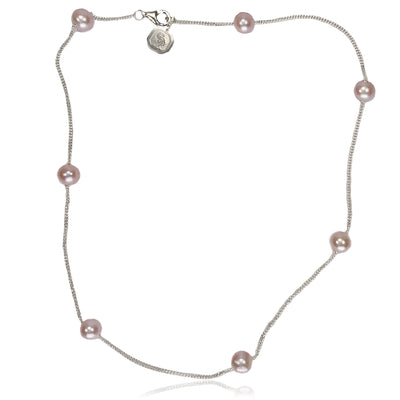 Pink Freshwater Pearl & Silver Chain Necklace