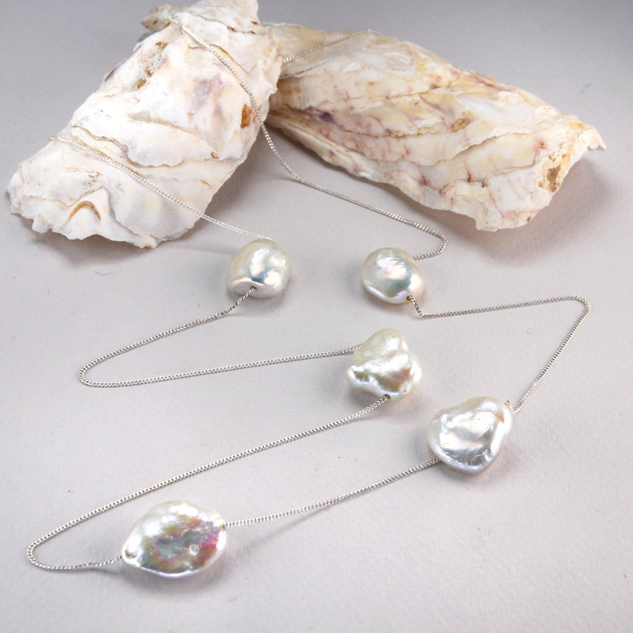 Baroque shape flat Freshwater Pearls on sterling Silver Chain