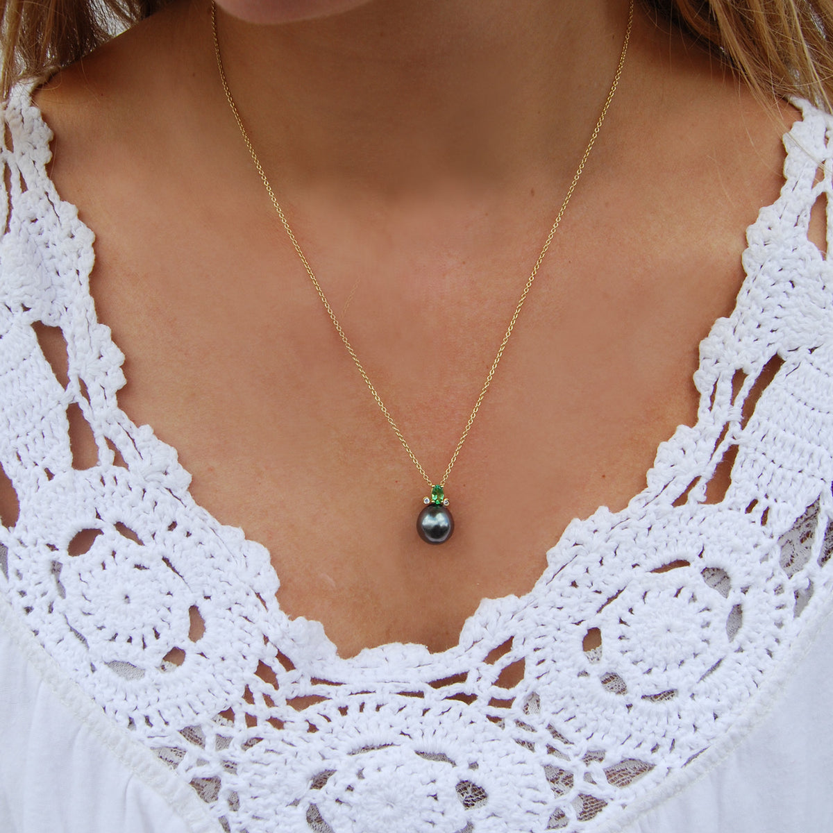 Black Tahitian Pearl, Green Tsavorite & Diamond, Gold-Pendant